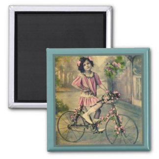 Fahrrad-Mädchen-Magnet Quadratischer Magnet