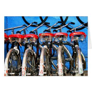 Fahrrad-Mieten, blaue Stadt Grußkarte