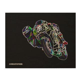 Fahrrad-Reiter-glühende Motorrad-Kreis-laufende Holzdruck