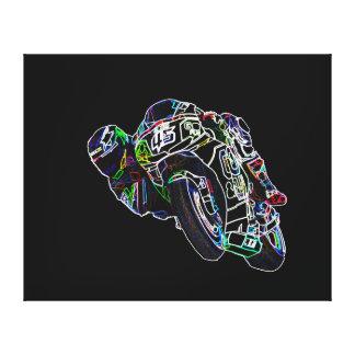 Fahrrad-Reiter-glühende Motorrad-Kreis-laufende Leinwanddruck