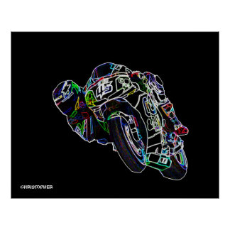 Fahrrad-Reiter-glühende Motorrad-Kreis-laufende Poster