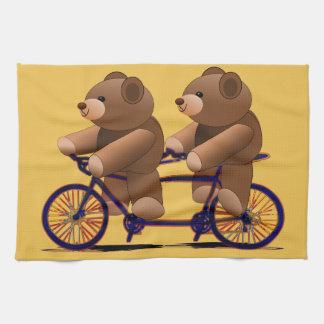 Fahrrad-Tandem, Teddybär-Druck Küchentuch