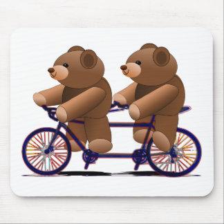 Fahrrad-Tandem, Teddybär-Druck Mousepad