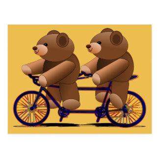 Fahrrad-Tandem, Teddybär-Druck Postkarte