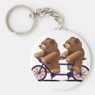 Fahrrad-Tandem, Teddybär-Druck Standard Runder Schlüsselanhänger