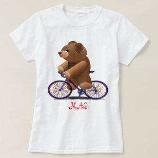 Fahrrad-und Teddybär-Druck T-Shirt