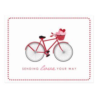 Fahrrad-Valentinsgruß-Postkarten - mit Herzen Postkarte