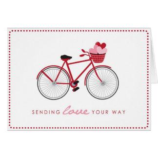 Fahrrad-Valentinstag-Karte mit Herzen Karte