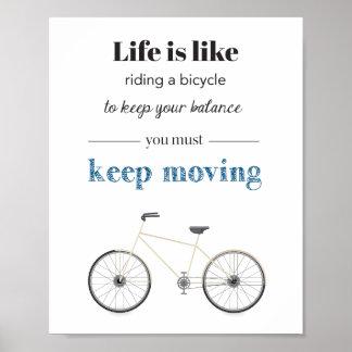 Fahrrad-Zitat-Plakat Poster