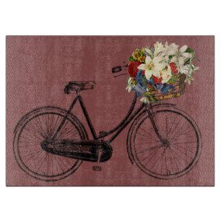 Fahrradfahrrad-Blumen des Ausschnitbrettes Vintage Schneidebrett