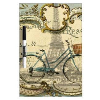 Fahrradparis Eiffel des Chicreisenden Vintager Trockenlöschtafel
