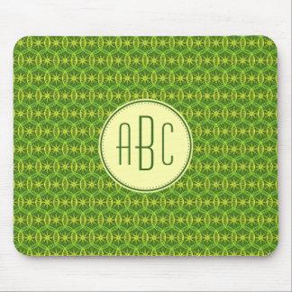 Fahrradradmuster des Monogramms grünes gelbes Mousepad