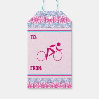 Fahrradradmuster des Radfahrers rosa blaues Geschenkanhänger