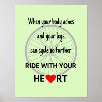 Fahrt mit Ihrem Herzsport-Zitatgrün Poster