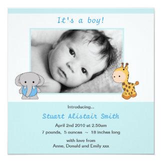 Faire-part bleu animal mignon de photo de bébé