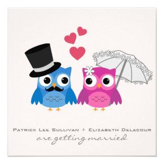 Faire-part de mariage de hibou mignon de marié et carton d'invitation  13,33 cm