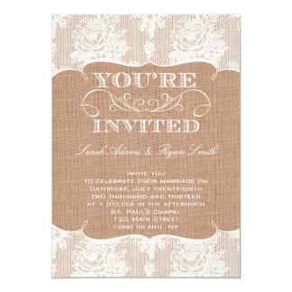 Faire-part de mariage de toile de jute carton d'invitation  12,7 cm x 17,78 cm