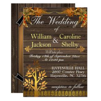 Faire-part de mariage en bois rustique et d'or
