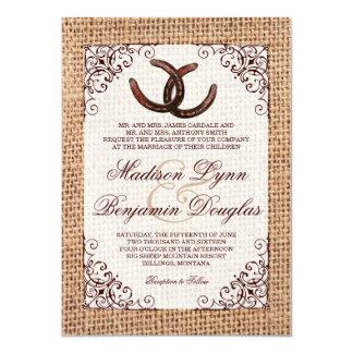 Faire-part de mariage en fer à cheval de toile de carton d'invitation  11,43 cm x 15,87 cm