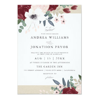 Faire-part de mariage floral romantique