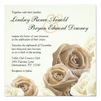 Faire-part de mariage rose de fleurs de toile de