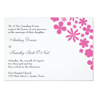Faire-part de mariage rose de flower power