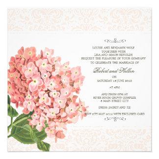 Faire-part de mariage rose vintage d'hortensia