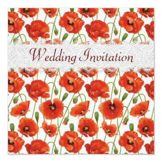 Faire-part de mariage rouge de pavots d'été