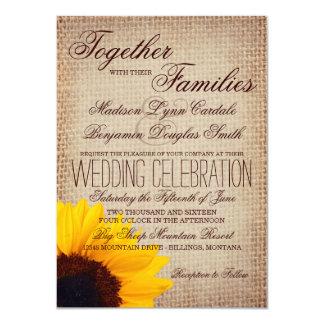 Faire-part de mariage rustique de toile de jute de carton d'invitation  11,43 cm x 15,87 cm
