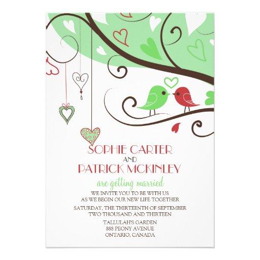 Faire-part de mariage vert et rouge de perruches