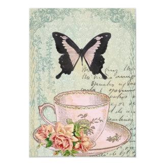 Faire-part de mariage vintage de temps de thé