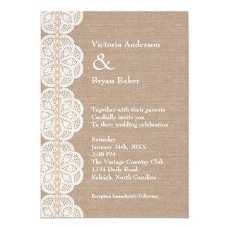 Faire-part de mariage vintage rustique de napperon