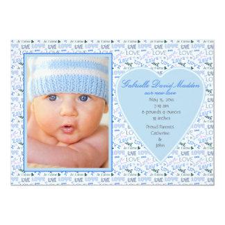Faire-part de naissance bleu de photo d'amour