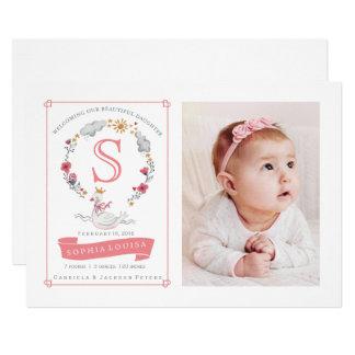 Faire-part de naissance de princesse Swan Flower