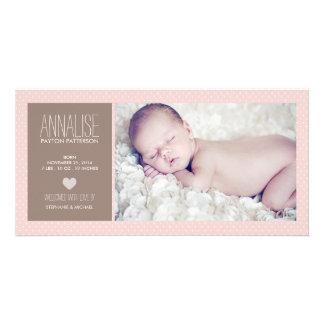 Faire-part de naissance doux de bébé de photo de photocarte personnalisée