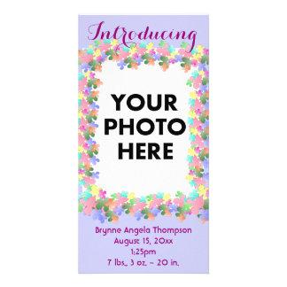 Faire-part de naissance en pastel de coutume de cartes avec photo