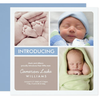 Faire-part de naissance multiple | de photo bleu