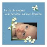 Faire-part naissance muguet et fée felt bleu gris carton d'invitation  13,33 cm