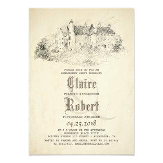 Fairytale-altes Schloss-Vintages Verlobungs-Party 12,7 X 17,8 Cm Einladungskarte