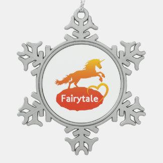 FairytaleUnicorn mit Liebe Schneeflocken Zinn-Ornament