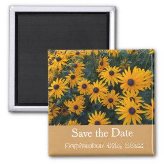 faites gagner la date, fleurs jaunes de marguerite magnet carré