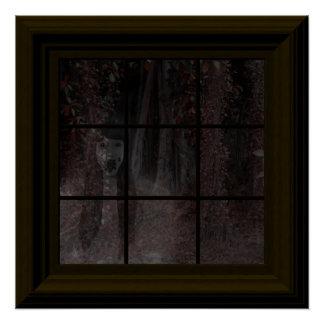 Fake-Fenster-Geist in Spuk Haus Holz-Halloweens Poster
