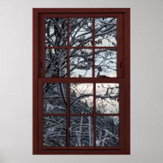 Fake-Fenster - Illusion - Winter-Holz-Ansicht 1 Poster