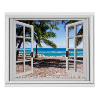 Fake-Fenster mit Palmen auf Strand-Ozean-Ansicht Poster