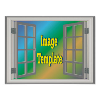 Fake-Imitat-Fenster-weißes Grau schaffen Ihre Poster