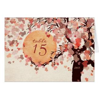 Fall-Baum-Wedding Tischnummer-Karte Karte