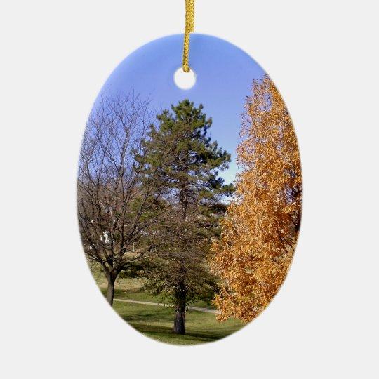 Fall-Bäume Ovales Keramik Ornament