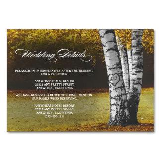Fall-Birken-Baum-Hochzeits-Empfang + Hotel-Karten