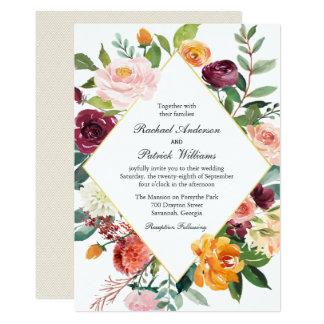 Fall-Blumendiamant-Rahmen-Hochzeit 12,7 X 17,8 Cm Einladungskarte