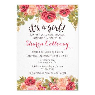 Fall-Blumenmädchen-Baby-Duschen-Rosen-Einladung Karte